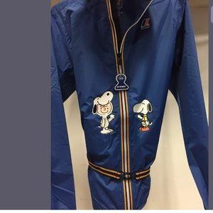 NWT k.way windbreaker zip up hoodie blue jacket